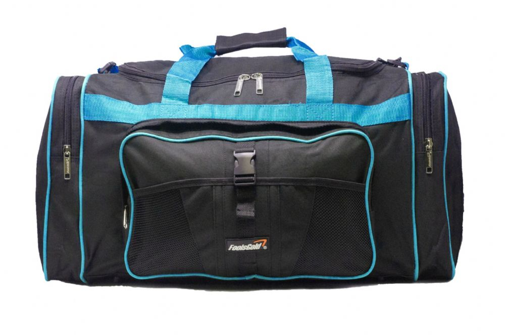 Large 50L foolsGold® Sports Holdall Bag - Black/Aqua